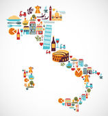 Italy map with vector icons — Stock Vector