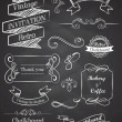 Chalkboard Hand drawn vintage vector elements - Stock Vector