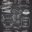 Chalkboard Hand drawn vintage vector elements — Stock Vector