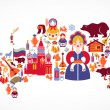 Russia map with vector icons - Stock Vector