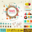 Travel and tourism infographics with data icons, elements — Stok Vektör