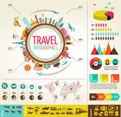 Reise- und tourismusbranche infografiken mit daten symbole, elemente — Stockvektor