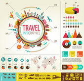 Travel and tourism infographics with data icons, elements — Stock vektor