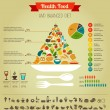 Health food pyramid infographic, data and diagram - Векторная иллюстрация