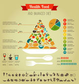 Health food pyramid infographic, data and diagram — Stock Vector