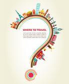Onde a viagem, ponto de interrogação com ícones de turismo e elementos — Vetorial Stock