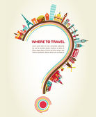 Where to Travel, question mark with tourism icons and elements — Cтоковый вектор