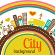 City background with icons and elements — Vettoriali Stock