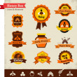 Honey bee vector label set — Stockvectorbeeld
