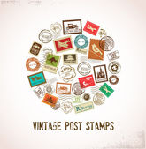 Vintage vector background with rubber stamps — Stock Vector
