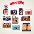 Old vintage camera set — Imagen vectorial