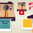 Old vintage polaroid camera with picture - Stock Vector