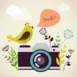 Old vintage camera with bird - Stock Vector