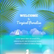 Tropical paradise vector background - Stock Vector
