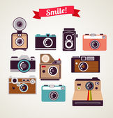 Old vintage camera set — Vector de stock