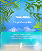 Tropical paradise vector background — Stock Vector
