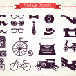 Vintage hipster objects collection - Stock Vector