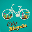 Bicycle in the city, vintage style poster — Vector de stock