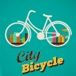 Bicycle in the city, vintage style poster — Stock vektor