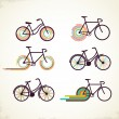 Stock Vector: Bicycle set