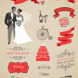 Wedding vector set with graphic elements — Stock Vector