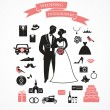 Wedding vector set with graphic elements - Stock Vector
