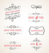 Vintage wedding invitations vector set — Stock Vector