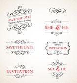 Vintage wedding invitations vector set — Stock Vector