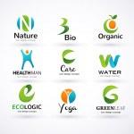 Vector green ecology alphabet — Stock Vector