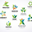 Vector green nature symbols, elements and icons — Stock Vector
