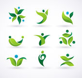 Vector green ecology icons — Stock Vector