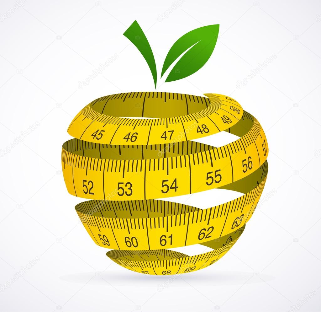 Apple and measuring tape, Diet symbol — Stock Vector ...