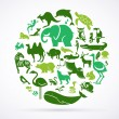 Stock Vector: Animal green world - huge collection of icons