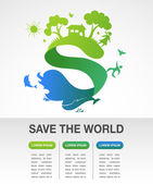 Save the world - nature and ecology infographics — Stock Vector