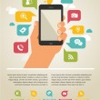 Mobile phone with icons - infographic and website background — Imagens vectoriais em stock