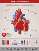 Human Heart health, disease and attack infographic — ストックベクタ