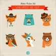 Cute fashion Hipster Animals & pets — Vettoriali Stock