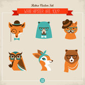 Cute fashion Hipster Animals & pets — Stock Vector