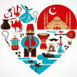 Turkey- heart with set of vector illustrations — Stock vektor