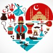 Turkey- heart with set of vector illustrations — Vector de stock