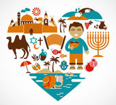 Israel - heart with set of vector illustrations — Stock Vector