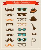 Conjunto de iconos retro vintage de hipster — Vector de stock