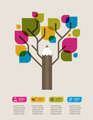 Colorful education tree with pencil and text space — Stock Vector