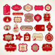 Xmas set - labels, tags and decorative elements — Stok Vektör