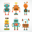 Stock Vector: Set of vintage robot icons
