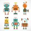 Set of vintage robot icons — Stock Vector