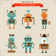 Set of vintage hipster robot icons — Stock Vector