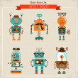 Stock Vector: Set of vintage hipster robot icons