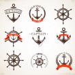 Stock Vector: Set of vintage nautical icons and symbols