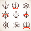 Set of vintage nautical icons and symbols — Stock Vector #31177779